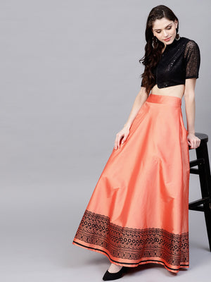 Peach & Black Block Printed Lehenga With Sequned Choli (Fully Stitched) | Znx4ever.com