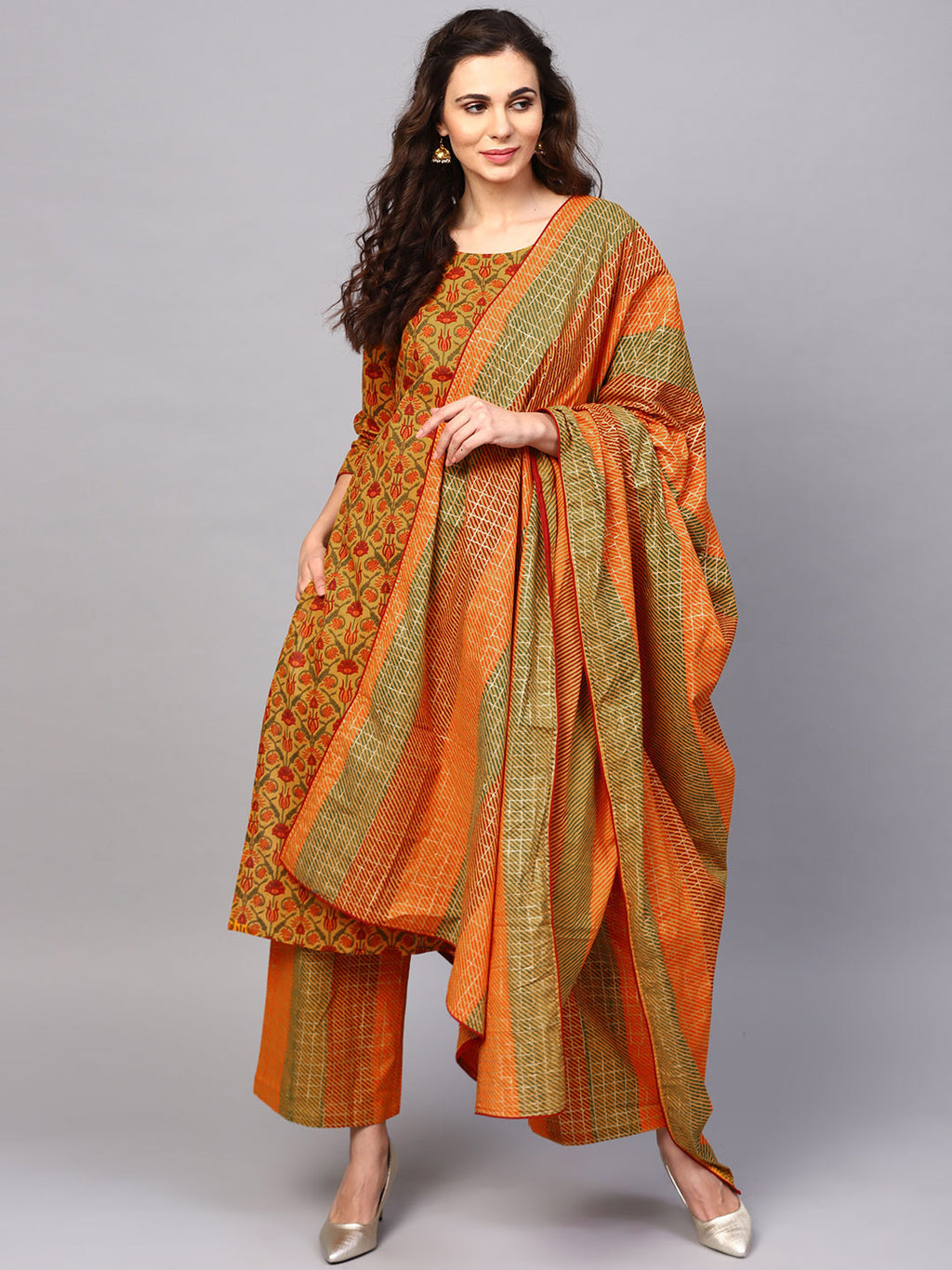 Mustard Gold Floral Printed Straight Kurta With Palazzo & Dupatta Set (Fully Stitched) | Znx4ever.com