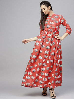 Red & White Floral Printed Pleated Maxi (Fully Stitched) | Znx4ever.com