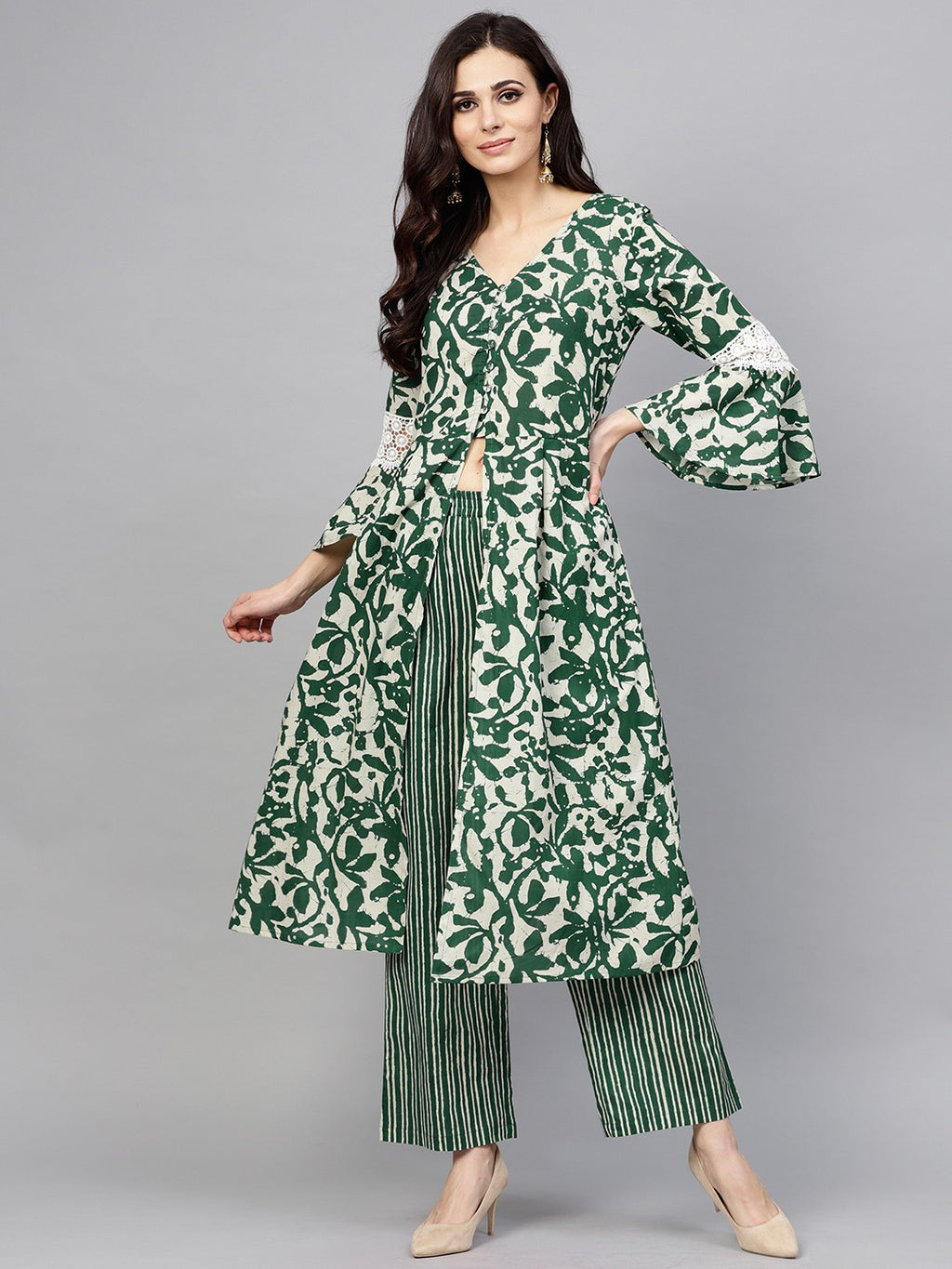 Green & White Floral Printed A-Line Kurta With Palazzo Set (Fully Stitched) | Znx4ever.com