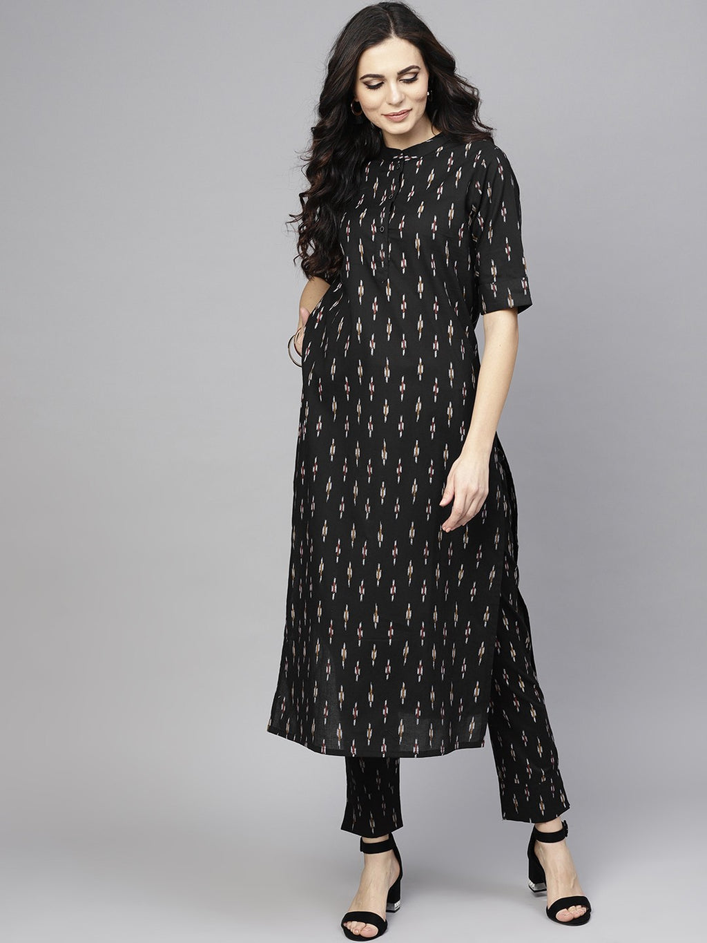 Black Ikat Printed Straight Kurta With Pant Set (Fully Stitched) | Znx4ever.com