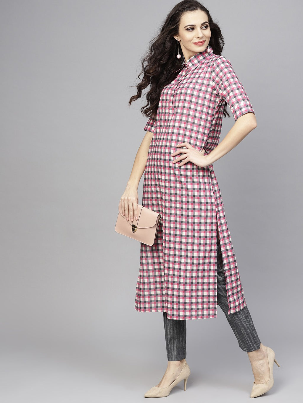 Pink & Grey Checked Printed Kurta With Pant Set (Fully Stitched) | Znx4ever.com