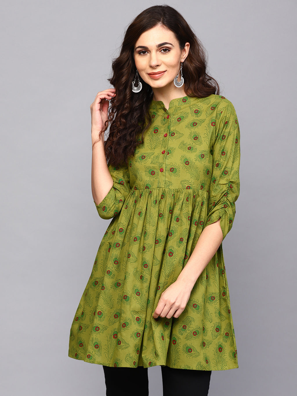 Green Feather Print Pleated Tunic (Fully Stitched) | Znx4ever.com