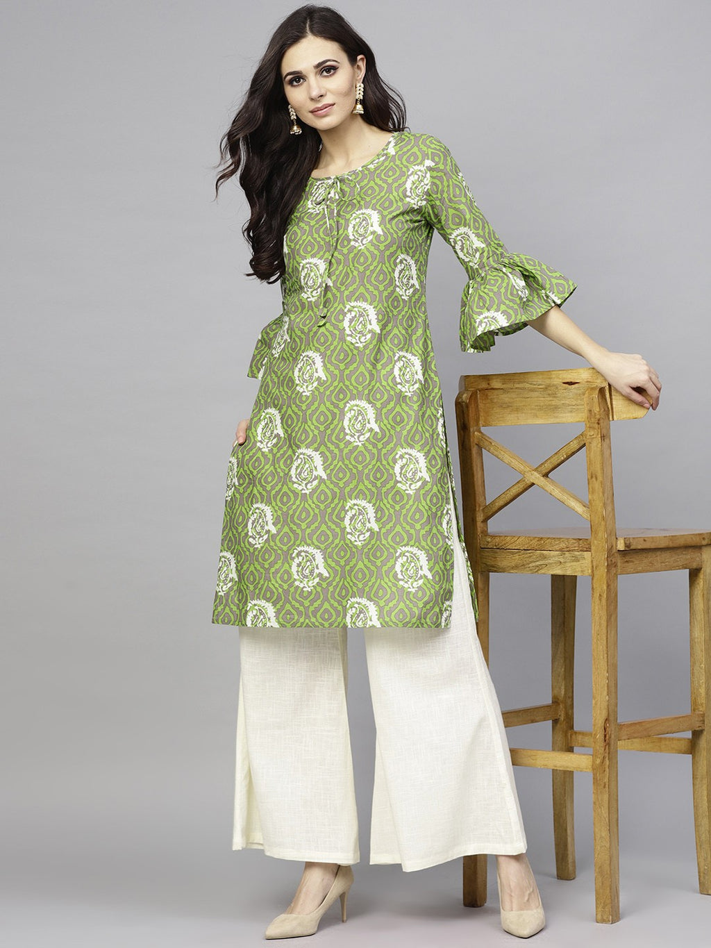 Green Printed Straight Kurta With Cream Palazzo Set (Fully Stitched) | Znx4ever.com