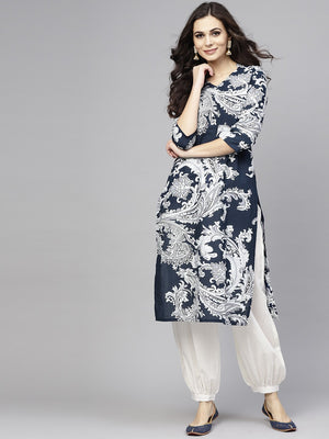 Blue & White Printed Kurta With Salwar Set (Fully Stitched) | Znx4ever.com