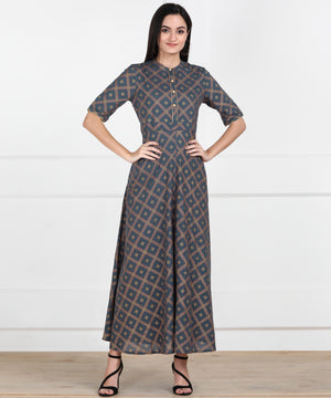 EYKA GREY GOLD PRINTED MAXI DRESS