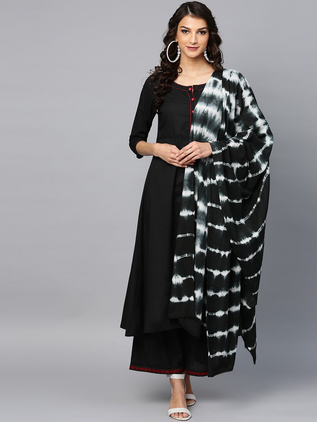 Black Solid A-Line Kurta & Palazzo With Tie & Dye Dupatta (Fully Stitched) | Znx4ever.com