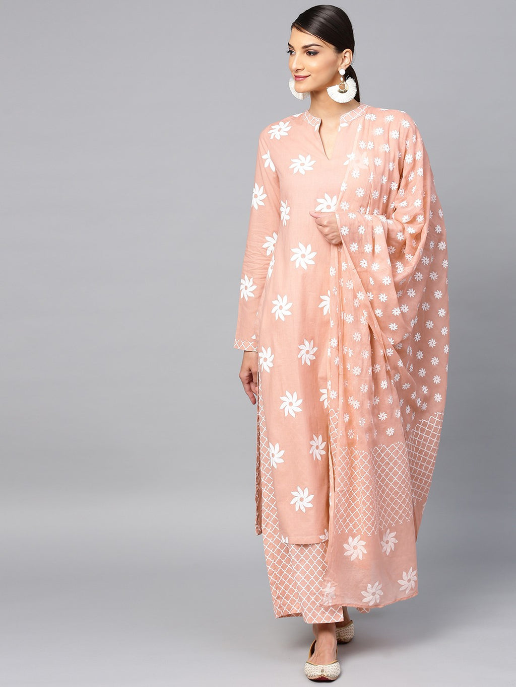 Peach Khari Printed Straight Kurta With Palazzo & Dupatta Set (Fully Stitched) | Znx4ever.com