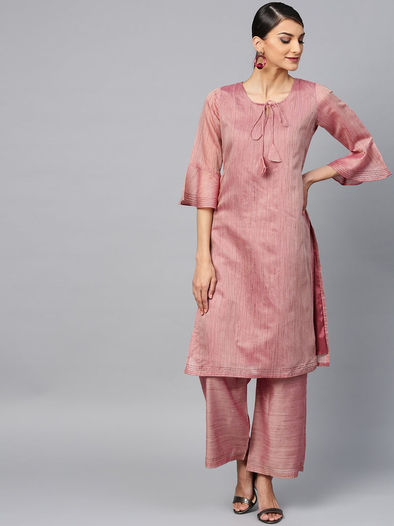 Mauve Solid Chanderi Straight Kurta With Palazzo Set (Fully Stitched) | Znx4ever.com