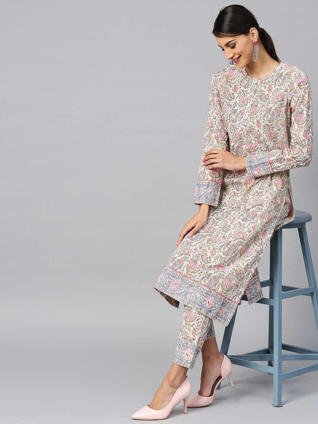 Cream & Pink Floral Printed Straight Kurta With Pant (Fully Stitched) | Znx4ever.com