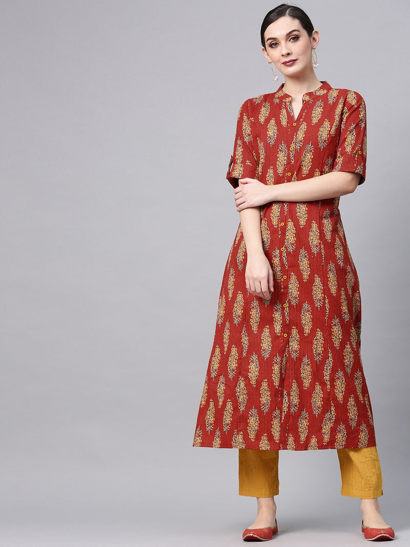 Maroon Kantha Work Printed A-Line Kurta (Fully Stitched) | Znx4ever.com