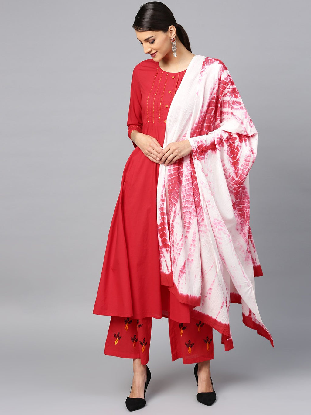 Red Embroidered Anarkali & Palazzo With Tie & Dye Dupatta Set (Fully Stitched) | Znx4ever.com