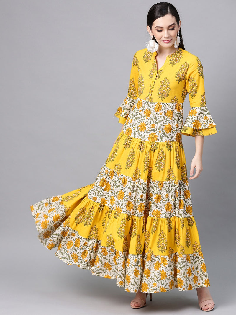 Yellow & White Floral Printed Tiered Maxi (Fully Stitched) | Znx4ever.com