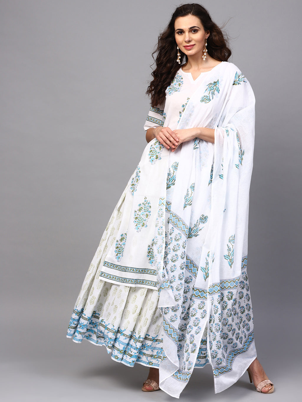 White & Blue Hand Block Printed Straight Kurta With Skirt & Dupatta Set (Fully Stitched) | Znx4ever.com