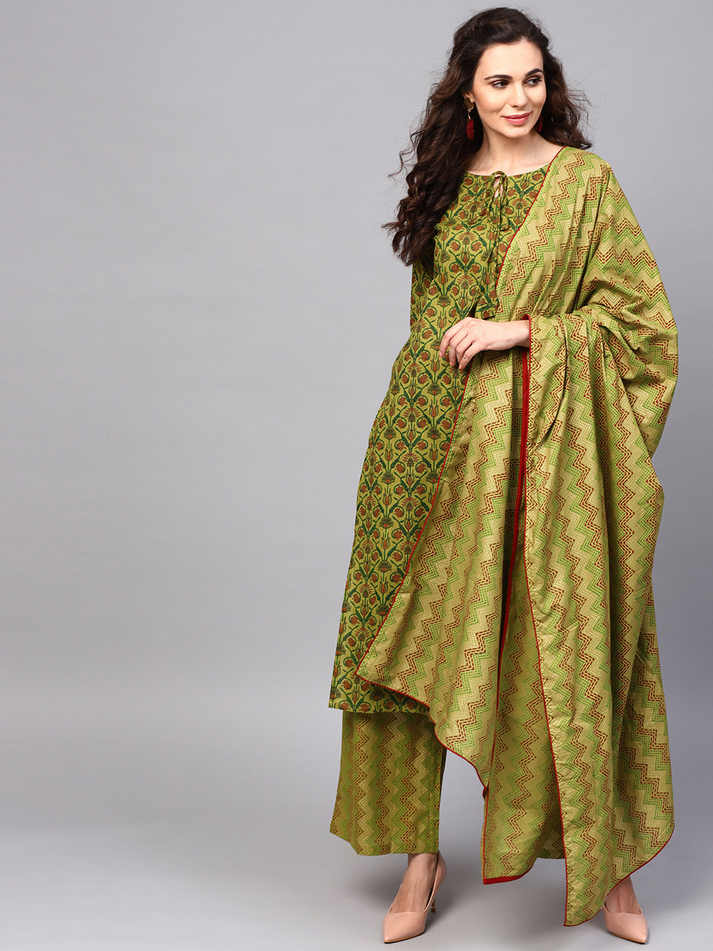 Green Gold Floral Printed Straight Kurta With Palazzo & Dupatta Set (Fully Stitched) | Znx4ever.com