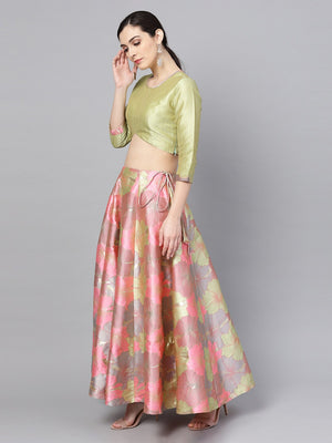Pink & Green Ready to Wear Lehenga with Blouse