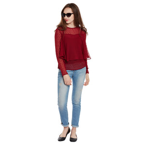 Weightless poly chiffon red layered top | Znx4ever.com
