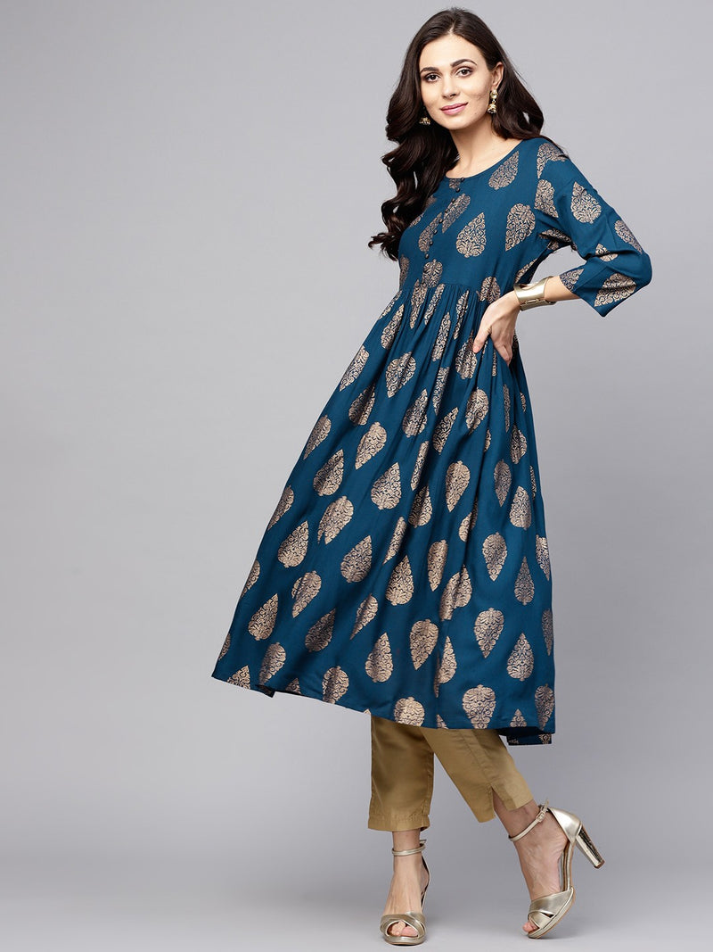 Blue Gold Printed Pleated Kurta (Fully Stitched) | Znx4ever.com