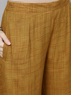Mustard Printed Button Down Kurta With Flared Palazzo With Brown Belt (Fully Stitched) | Znx4ever.com