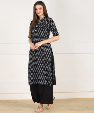 Znx Women Black Zig Zag Printed Straight Kurta