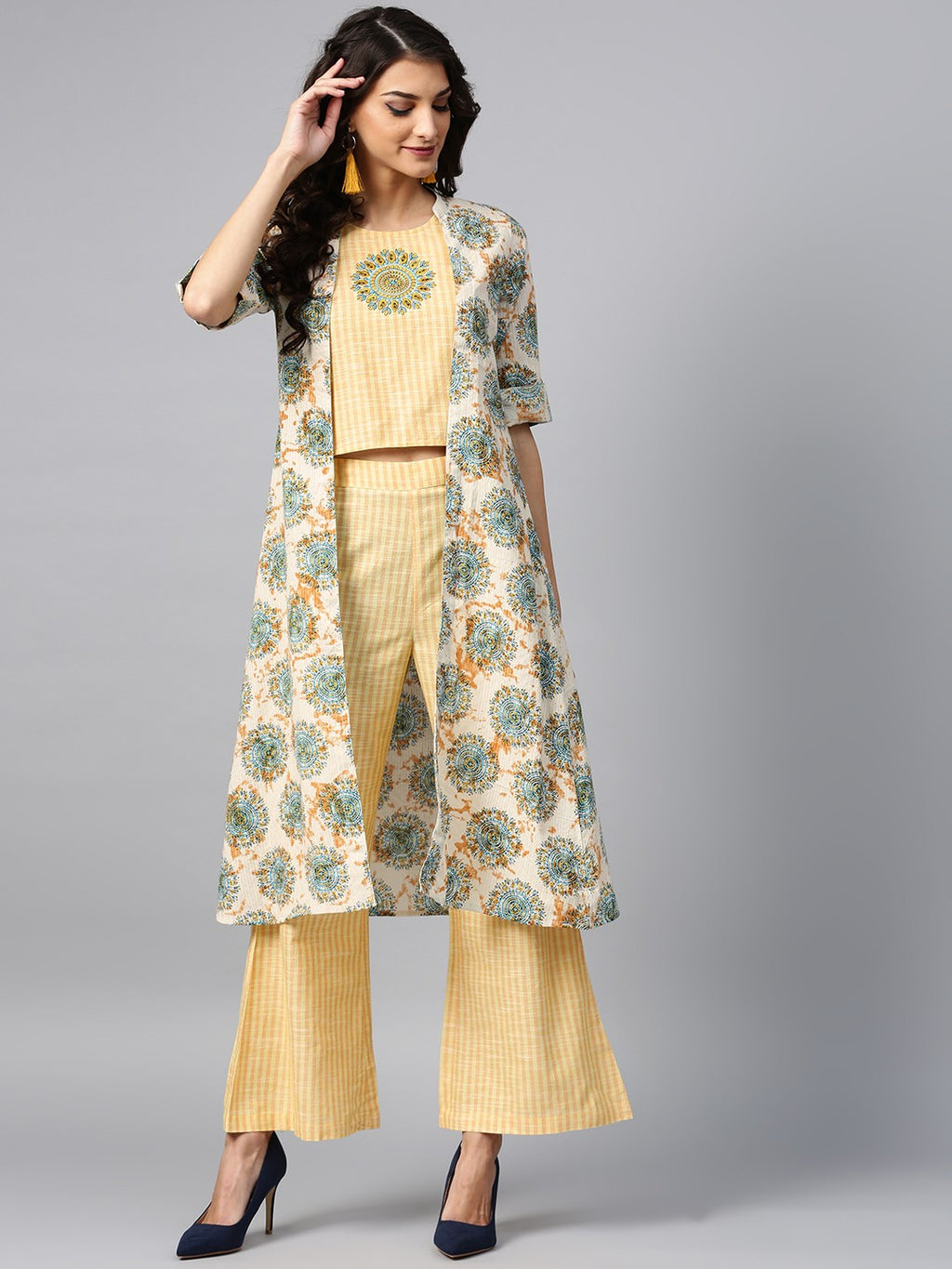 Yellow Embroidered Top With Palazzo & Printed Jacket | Znx4ever.com
