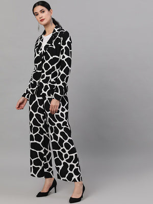 Black & White Animal Print Jacket With Palazzo