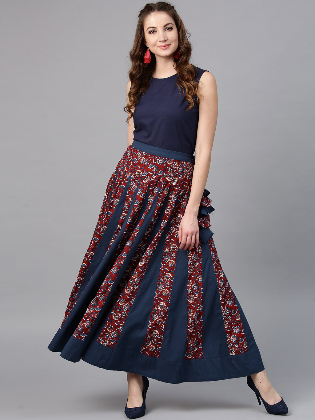 Blue & Burgundy Printed Flared Skirt | Znx4ever.com