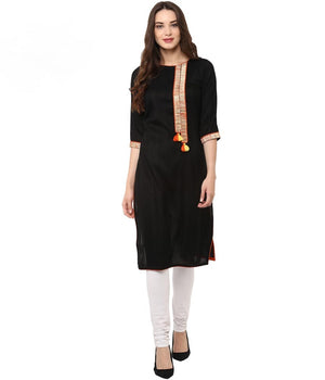 Black Embellished Cotton Straight Kurti | Znx4ever.com