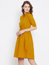 Mustard Yellow Solid Shirt Dress | Znx4ever.com
