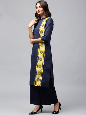 Navy Blue Printed Straight Kurta (Fully Stitched) | Znx4ever.com