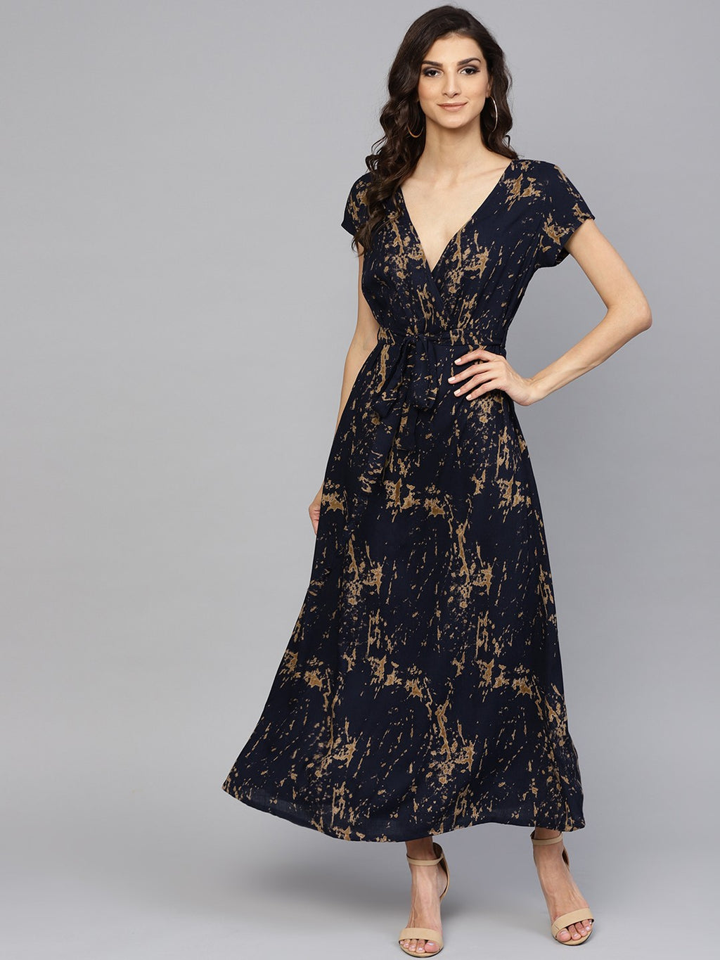 Navy Blue Discharge Printed Flared Maxi (Fully Stitched) | Znx4ever.com