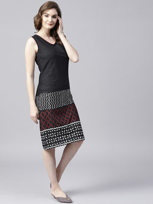 Black & Red Kantha Work Sleevless Dress (Fully Stitched) | Znx4ever.com