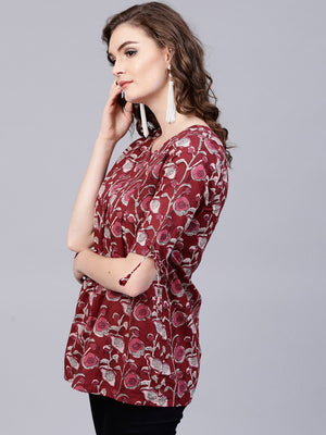 Maroon Floral Printed Pleated Tunic | Znx4ever.com