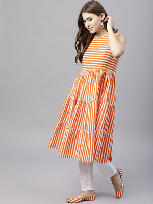 Orange Striped Printed Sleeveless Tiered Anarkali (Fully Stitched) | Znx4ever.com