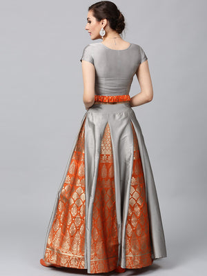 Quartz Grey & Orange Brocade Lehenga With Choli (Fully Stitched) | Znx4ever.com