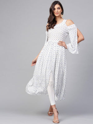 PRINTED COLD-SHOULDER ASSORTED KURTA | Znx4ever.com