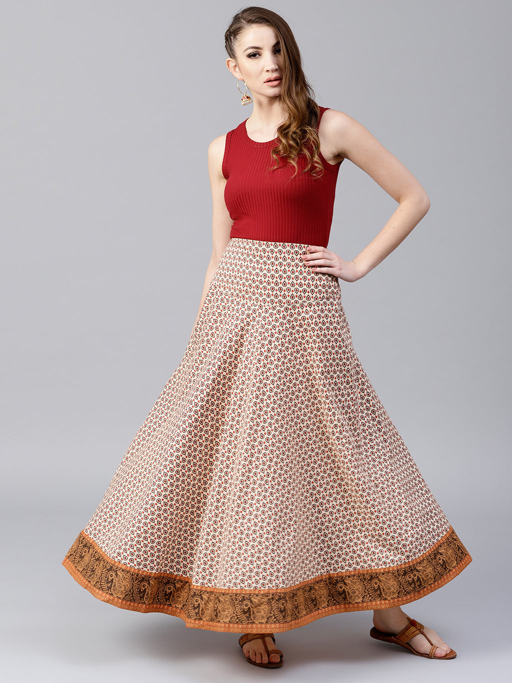 Beige & Brown Printed Flared Skirt | Znx4ever.com
