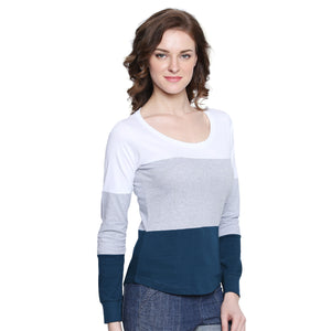 Women Round Neck Striped T-shirt | Znx4ever.com