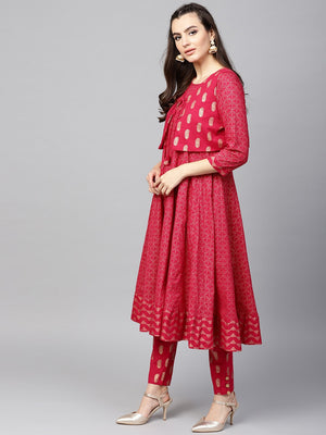 Magenta Gold Printed Anarkali With Waist Coat (Fully Stitched) | Znx4ever.com