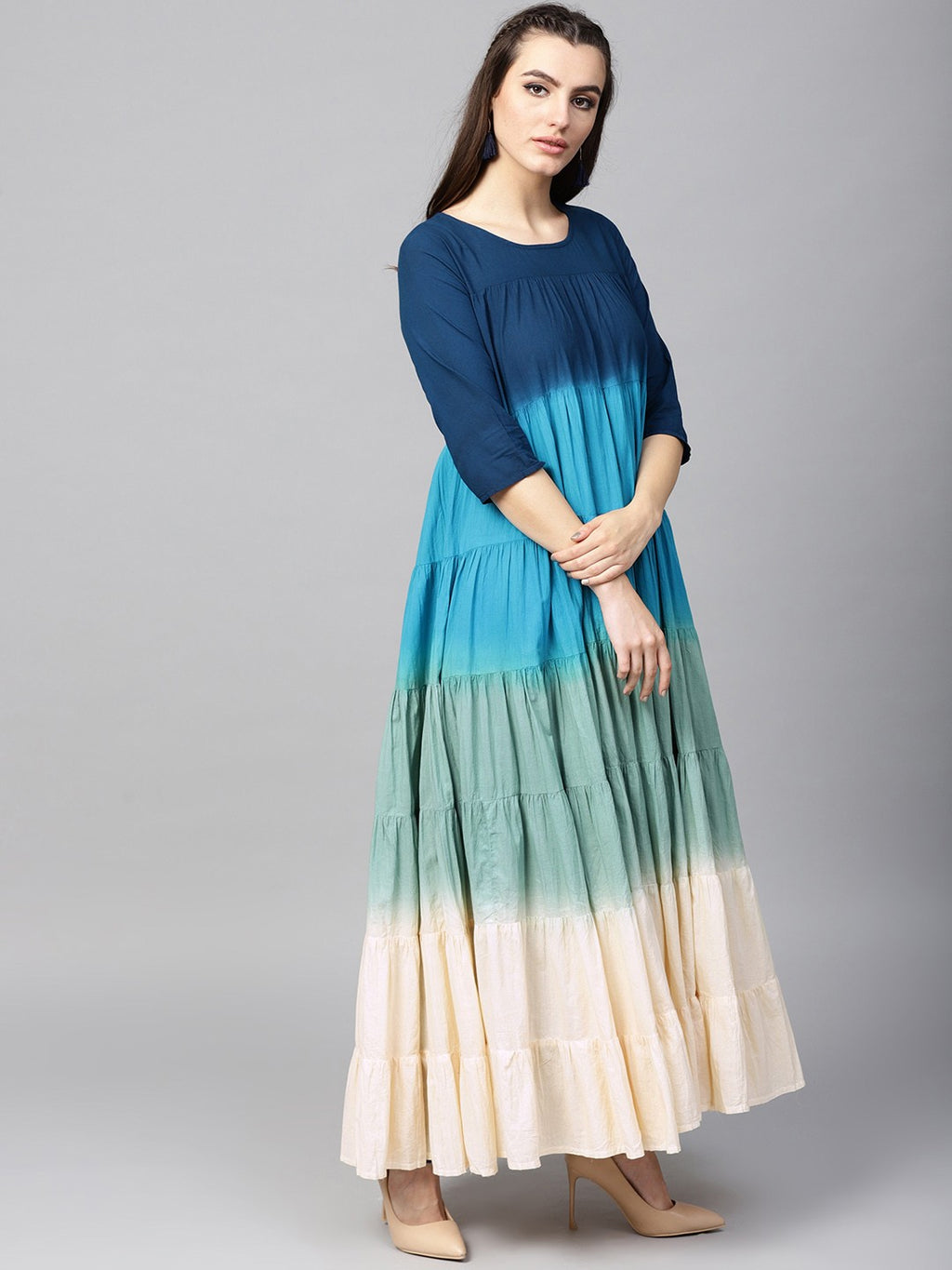 Blue Ombre Print Tiered Flared Anarkali (Fully Stitched) | Znx4ever.com