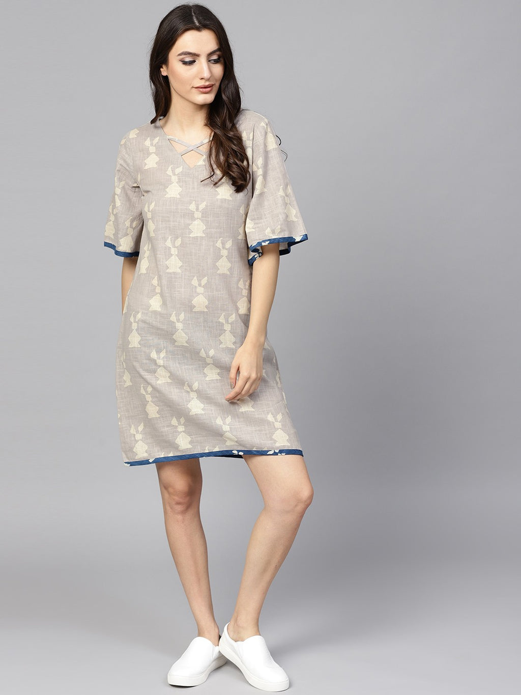 Beige Dabu Printed A-Line Dress (Fully Stitched) | Znx4ever.com
