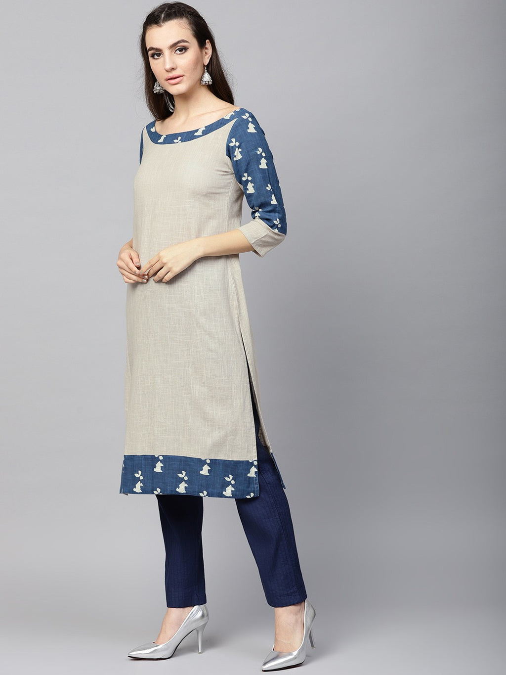 Beige & Blue Dabu Printed Straight Kurta (Fully Stitched) | Znx4ever.com