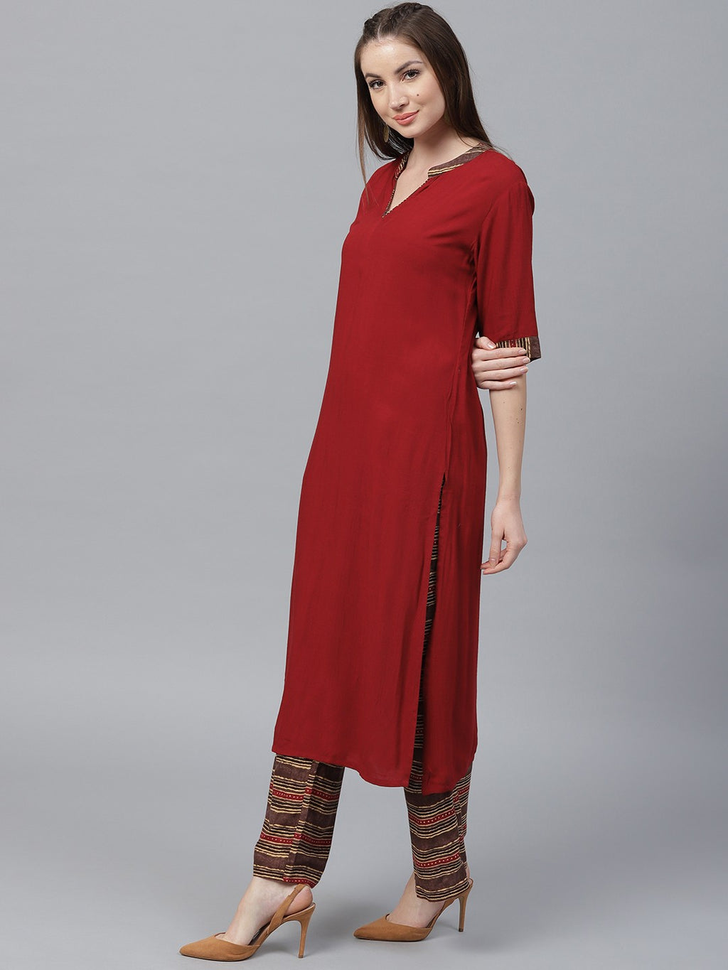 Burgundy Solid A-Line Kurta With Printed Palazzo Set (Fully Stitched) | Znx4ever.com