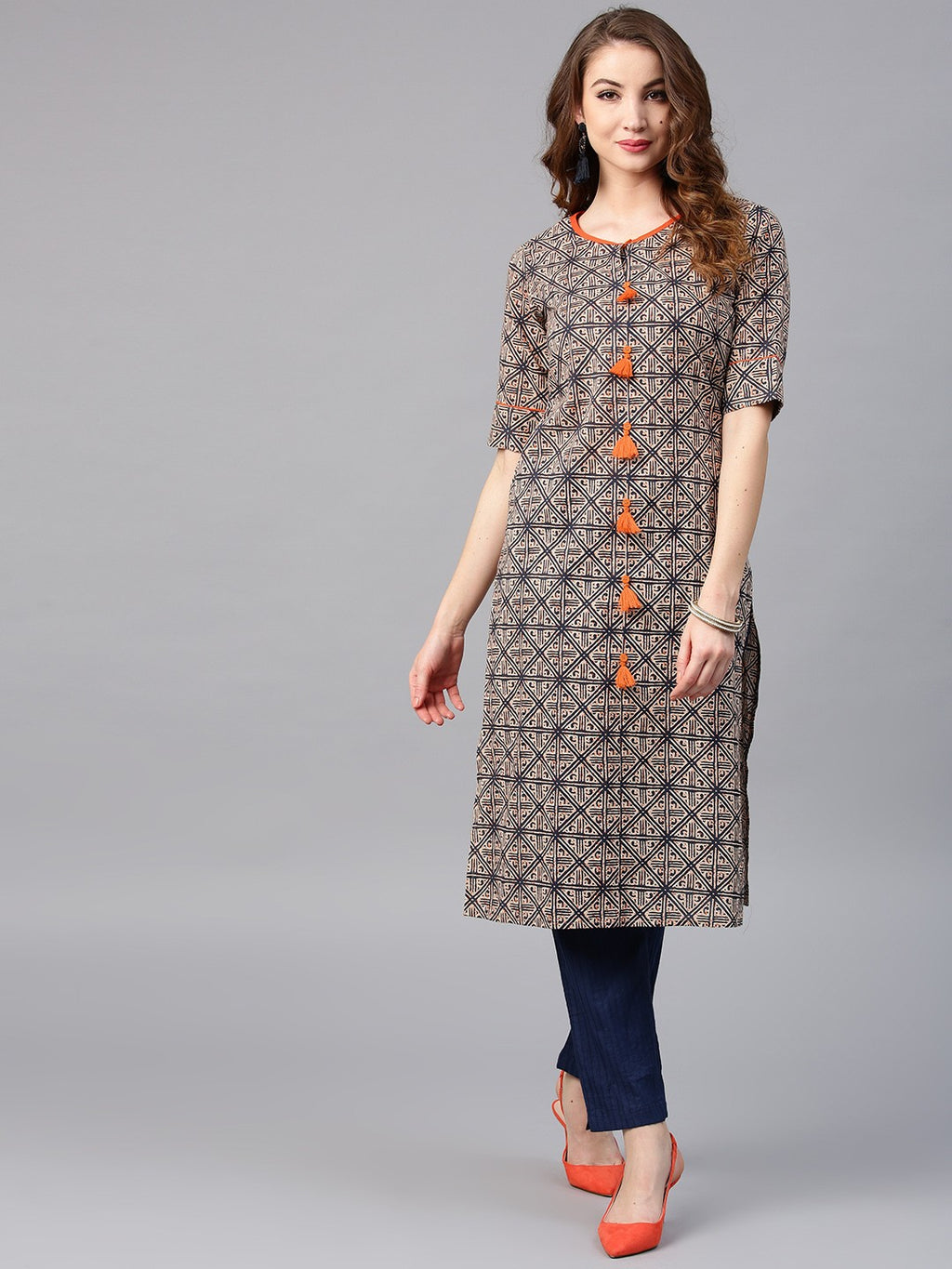 Beige & Blue Printed Straight Kurta (Fully Stitched) | Znx4ever.com