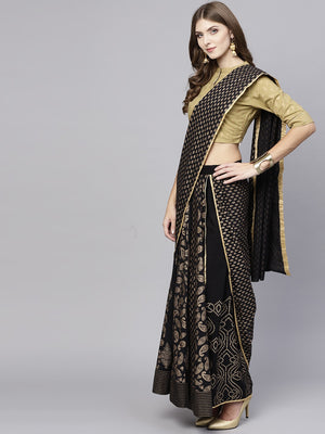 Black Gold Printed Lehenga With Choli And Dupatta (Fully Stitched) | Znx4ever.com