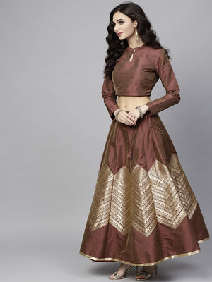 Brown & Gold Brocade Lehenga With Choli (Fully Stitched) | Znx4ever.com