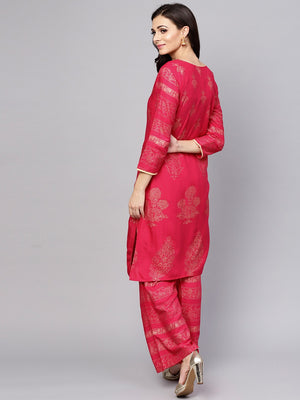 Pink Gold Printed Straight Kurta With Palazzo Set (Fully Stitched) | Znx4ever.com