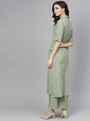 Mint Green Printed Straight Kurta With Pant Set (Fully Stitched) | Znx4ever.com