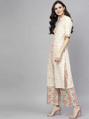 White Checked Print Straight Kurta With Palazzo Set (Fully Stitched) | Znx4ever.com
