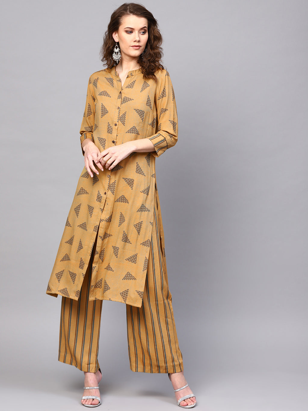 Beige Printed Button Down Kurta With Palazzo Set (Fully Stitched) | Znx4ever.com